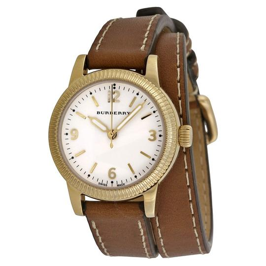 Burberry The Utilitarian Leather Gold Stainless Steel Wrap Bu7850 Watch Image 4