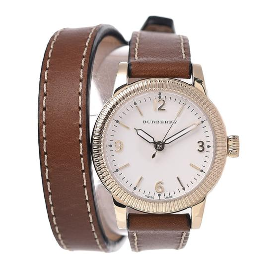 Burberry The Utilitarian Leather Gold Stainless Steel Wrap Bu7850 Watch Image 6