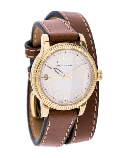 Burberry The Utilitarian Leather Gold Stainless Steel Wrap Bu7850 Watch Image 8