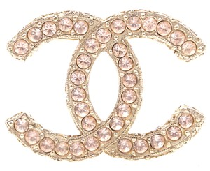 Chanel Ultra RARE CC Smoked Crystals textured gold hardware brooch pin charm