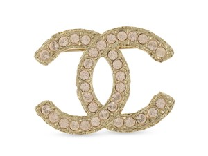 Chanel Pink Crystal CC Brooch