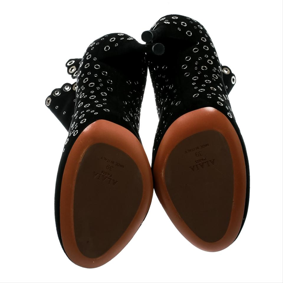 746a10aa5d5 ALAÏA Black Suede Eyelet Embellished Ankle Boots/Booties Size EU 39 ...