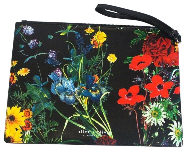 Item - Floral Zip Pouch Black / Red / Yellow / Green / Blue Leather Wristlet