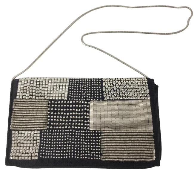 BCBGMAXAZRIA Embellished Black and Silver Satin Shoulder Bag BCBGMAXAZRIA Embellished Black and Silver Satin Shoulder Bag Image 1