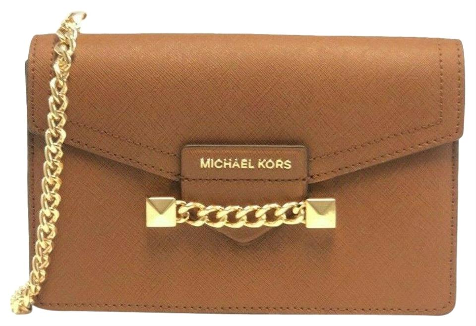 558128687b Michael Kors New Women's Karla Envelope Wristlet Chain Crossbo Luggage  Leather Cross Body Bag 68% off retail