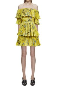 1a34d504ef00 self-portrait Yellow Day/Night Out Printed Tiered Mini Uk4/Us0 New ...