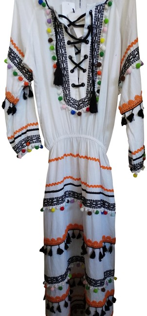 Item - White Multiple S Peasant Embroidered Pompoms Long Casual Maxi Dress Size 6 (S)