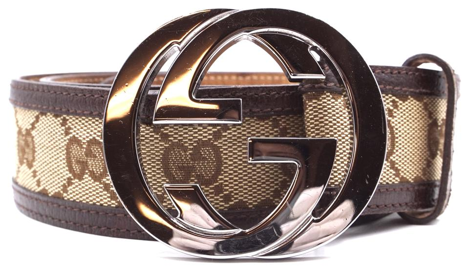 46b136b6f Gucci Classic GG silver buckle canvas and leather Belt Size 90 36 Image 0  ...