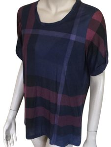 Burberry T Shirt Navy Nova Check