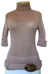 Manoush Mohair Short Sleeve Turtleneck Knit Sweater