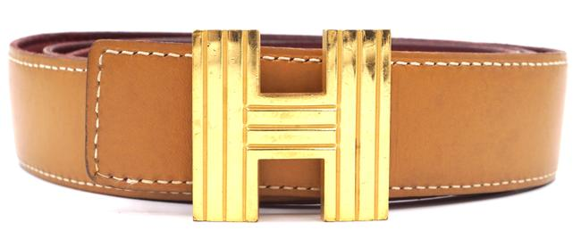 Item - #28585 Tan On Red Kelly 32mm Gold Cadena H Size 90 Reversible Leather Belt