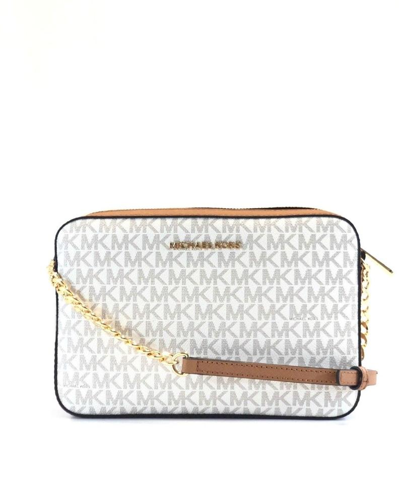 Michael Kors Jet Set Vanilla Acorn PVC Signature Large Crossbody Bag