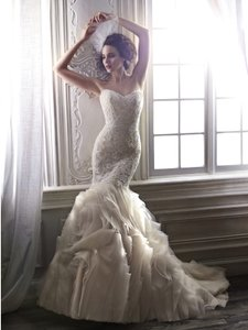 Maggie Sottero Ivory Over Light Gold Lace and Organza Paulina Traditional Wedding Dress Size 6 (S)