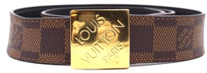 Louis Vuitton Iconic gold buckle leather Belt Logo spelled out size 80 32