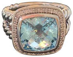 David Yurman DISCONTINUED! DY Albion Pave and Blue Topaz 7mm Ring Size 7