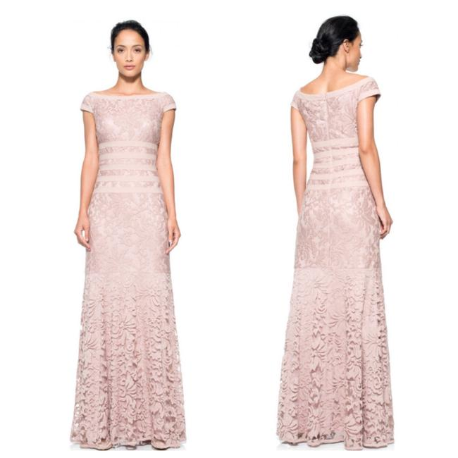 Item - Antique Pink Embroidered Lace Boatneck Cap Sleeve Gown Long Formal Dress Size 4 (S)