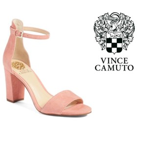 7ef21f20e020 Vince Camuto Ankle Strap Block Heel Open Toe Leather Pink Sandals