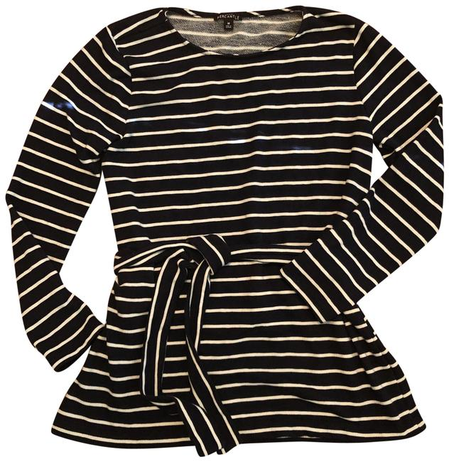 J.Crew Navy and White Striped Belted Tunic Size 10 (M) J.Crew Navy and White Striped Belted Tunic Size 10 (M) Image 1