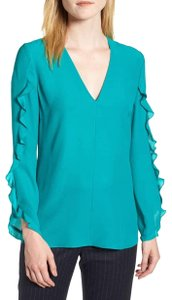 Lewit Silk Ruffle Sleeve Top Teal Sea