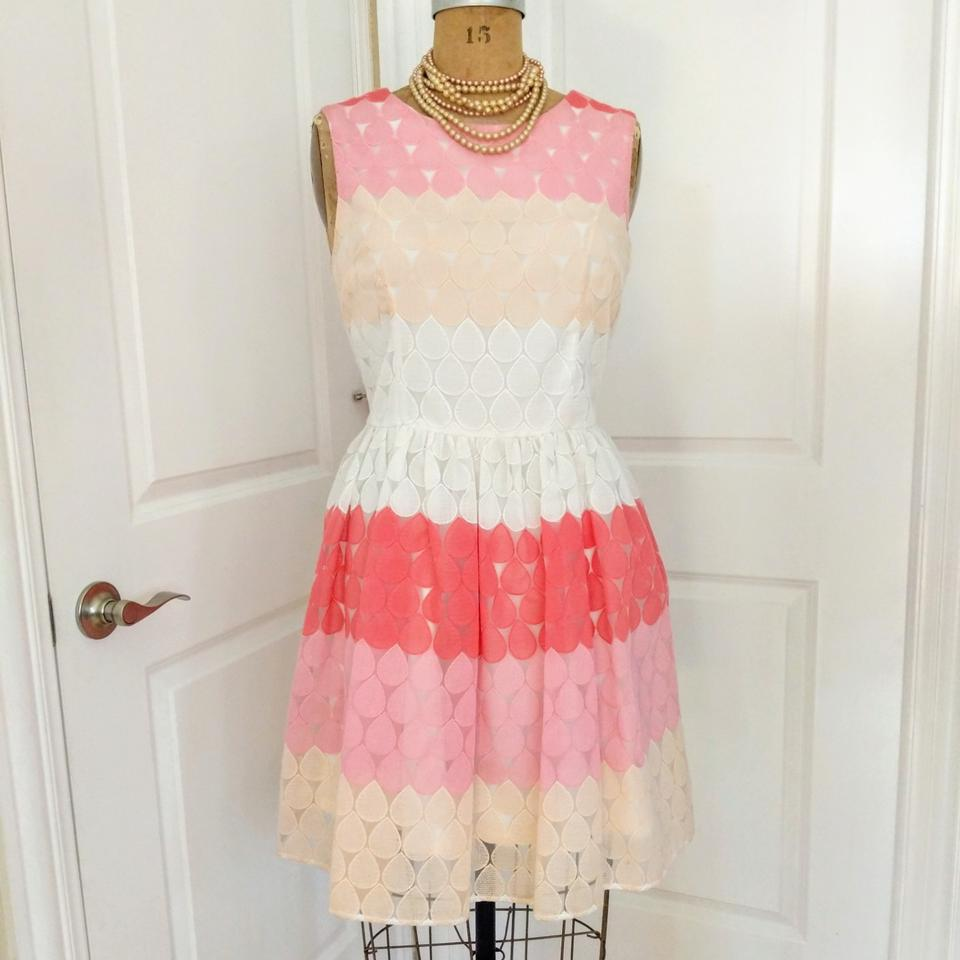 Betsey Johnson Pink And White Lace Short Cocktail Dress Size 12 L 67 Off Retail