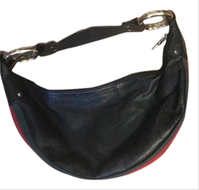 Item - Black with Red and Green Handle Leather Hobo Bag