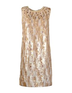 Andrew Gn Metallic Sequin Beaded Sleeveless Dress