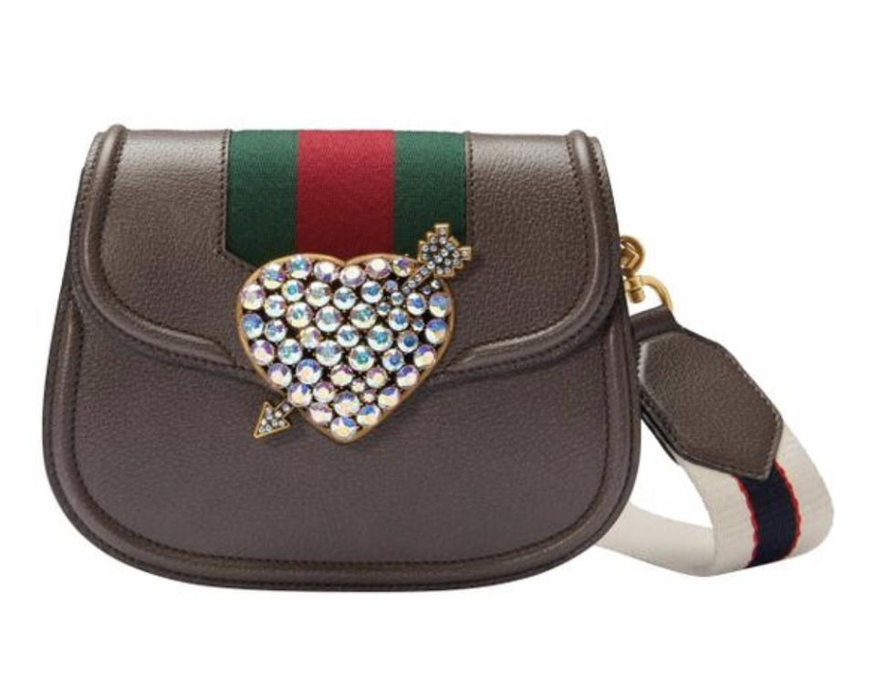 53ed6497056b Gucci Shoulder Linea Small Totem Crystal Heart Brown Cross Body Bag ...