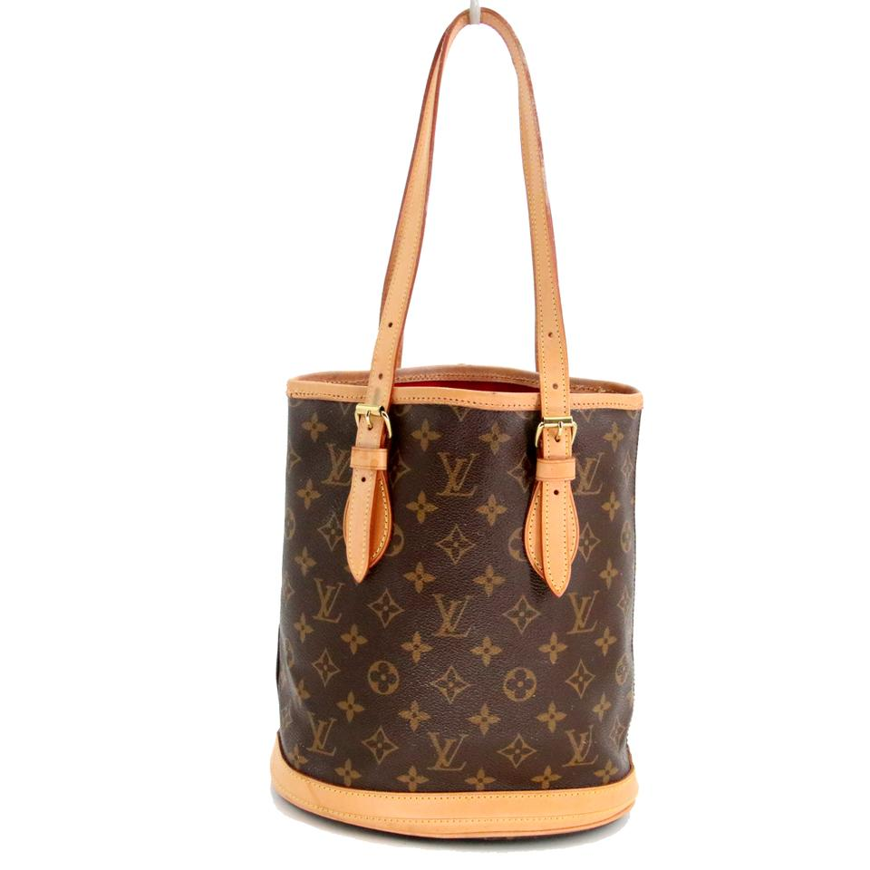 a8a83e65f1 Louis Vuitton Bucket Pm Monogram Canvas Petit Brown Cowhide Leather Shoulder  Bag
