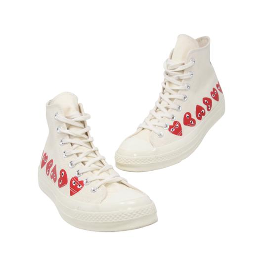 35bb5018144b COMME des GARÇONS Ivory Off White Play Converse Multi Heart Chuck Taylor All  Star  70 High Top Sneakers
