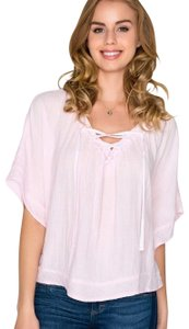 Xirena Boho Bohemian Festival Summer Tie Top Candy Pink