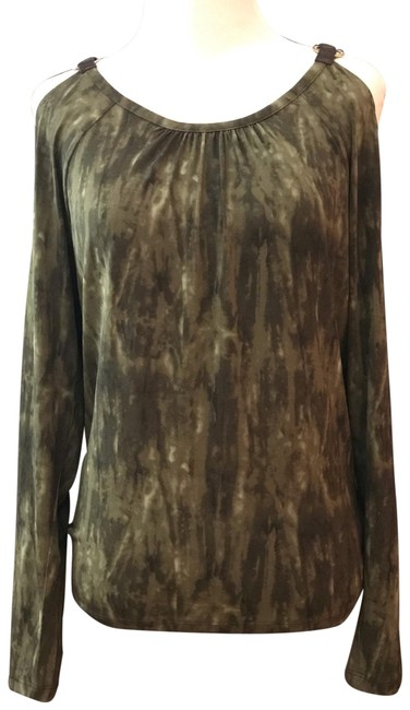 Item - Forest Green Cold Shoulder Leather Strap Detail Tunic Size 2 (XS)