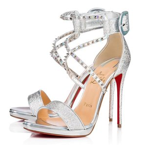 Christian Louboutin Spike Heels Holographic Rainbow Spiked Silver Sandals