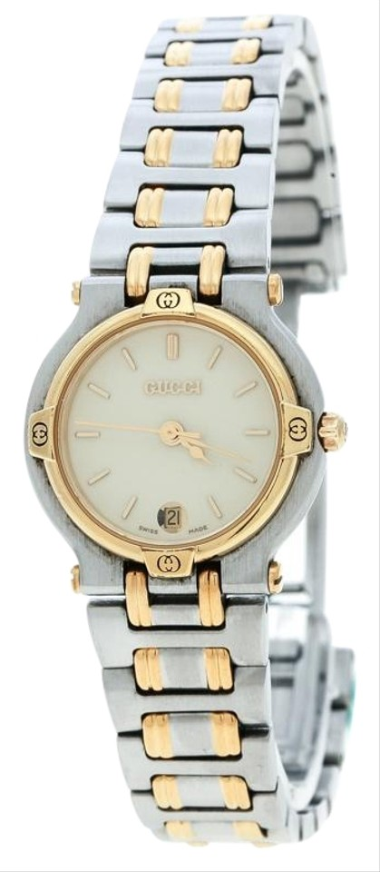 aad05b0c184 Gucci Cream Two-Tone Stainless Steel 9000L Women s Wristwatch 25 mm Image 0  ...