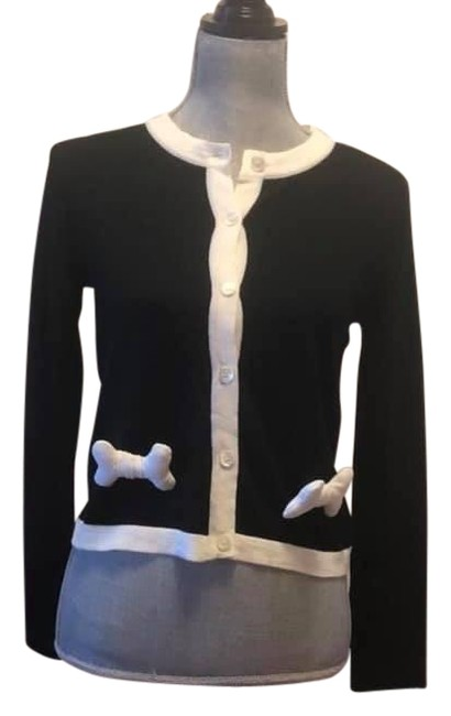 Item - Black Cardigan with Buttons and Bones Button-down Top Size 10 (M)