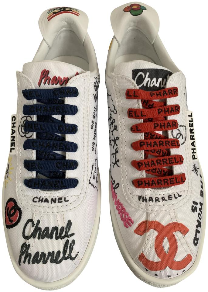 4436ecb5ce7 Chanel White Multicolor Graffiti Pharrell Cc Logo Low Top Very Limited  Sneakers Size EU 37 (Approx. US 7) Regular (M, B)