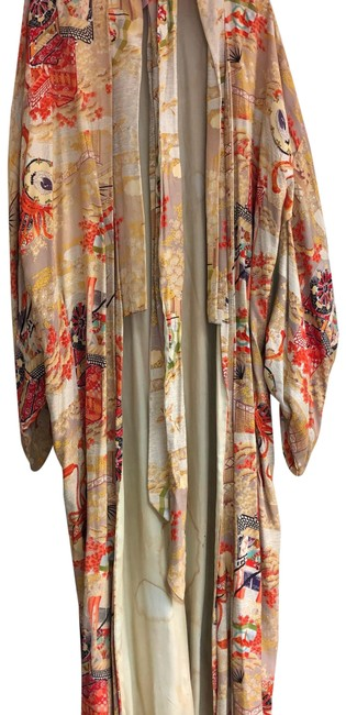 Item - Red Kimono Antique Oriental Hand Painted Poncho/Cape Size OS (one size)