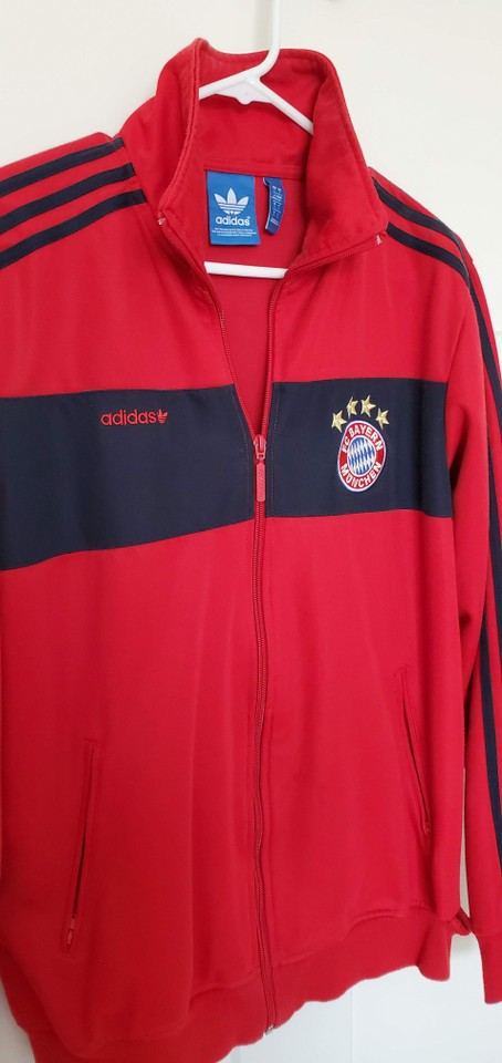 adidas Red Fc Bayern Munich Logo Soccer Team Track Jacket Activewear Size 12 (L) 54% off retail