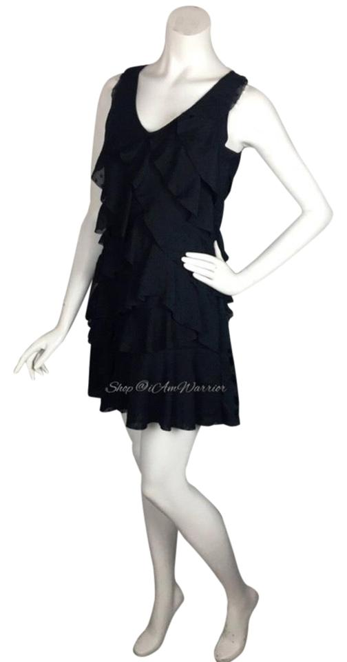 f670382ab05e Ann Taylor LOFT Navy Tiered Ruffle Dot Mini Short Casual Dress Size ...