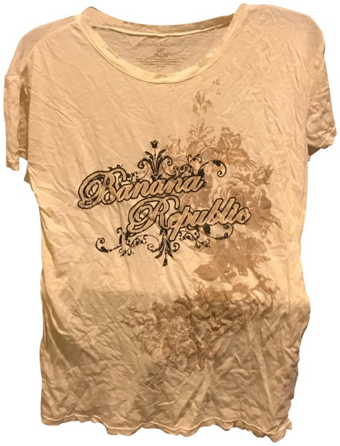 Item - Beige with Brown and Black Design Logo Front Either Like New Tee Shirt Size 12 (L)