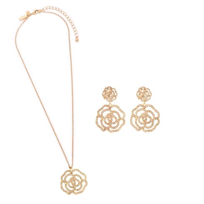 Item - Gold Crystal Rose Necklace Set