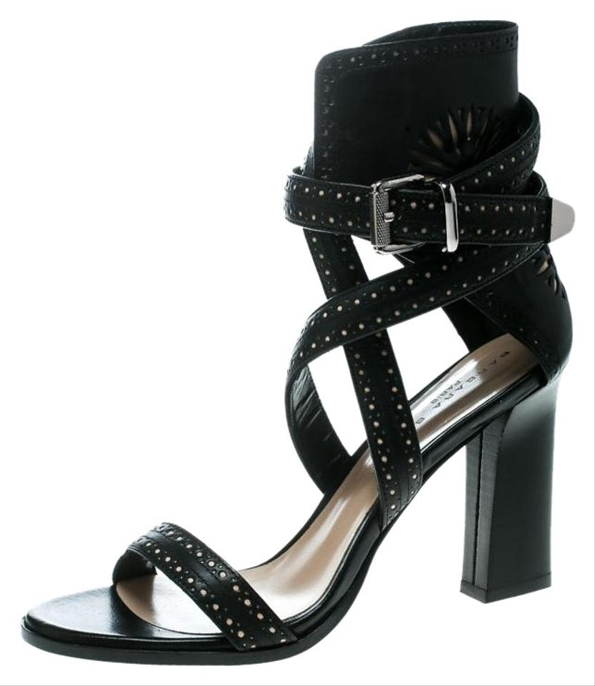 f579415d0d26 Barbara Bui Black Motif Perforated Leather Ankle Cuff Strappy ...