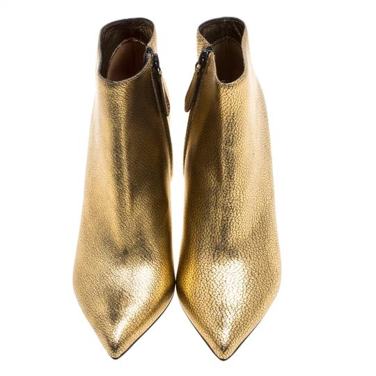 Alexander McQueen Leather Gold Boots Image 2