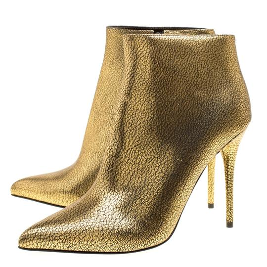 Alexander McQueen Leather Gold Boots Image 5