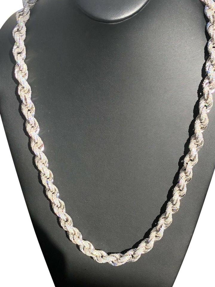 Real Solid Sterling Silver Men S Rope Chain Thick 12mm Diamond Necklace 28 Off Retail
