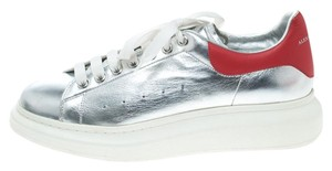 Alexander McQueen Leather Silver Flats
