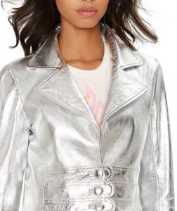 Nasty Gal Silver Leather Jacket