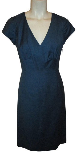 Item - Blue Cap Sleeve Wool Short Work/Office Dress Size 2 (XS)