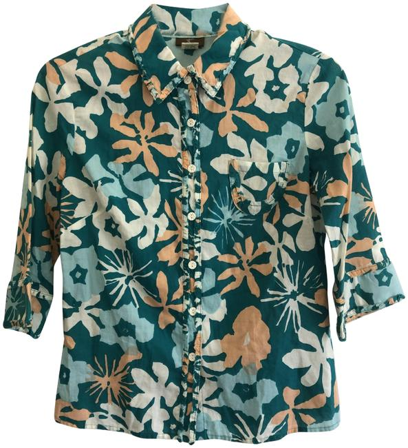 Item - Teal Multi Floral Print Woven Shirt Button-down Top Size 2 (XS)