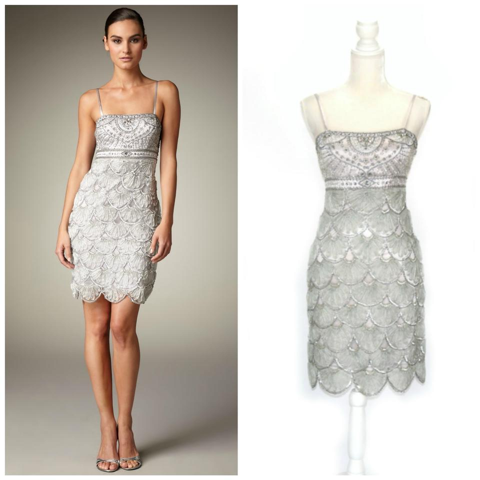4f4fd1e95d Sue Wong Silver Beaded Scalloped Short Cocktail Dress Size 4 (S ...