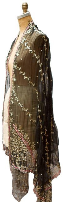 Item - Black/Pink/Gold Metallic Embroidered Shawl Scarf/Wrap